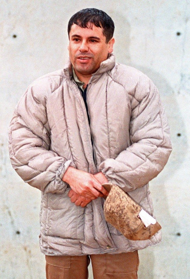 """FILE - In this June 10, 1993 file photo, Mexican drug lord Joaquin """"El Chapo"""" Guzman is shown to the press at the Almoloya de Juarez, a high security prison on the outskirts of Mexico City. A senior U.S. law enforcement official said Saturday, Feb. 22, 2014 that Guzman, the head of Mexico's Sinaloa Cartel, was captured alive overnight in the beach resort town of Mazatlan. Guzman faces multiple federal drug trafficking indictments in the U.S. and is on the Drug Enforcement Administration's most-wanted list. (AP Photo/Damian Dovarganes, File) ORG XMIT: XLAT118"""